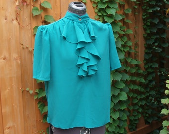Vintage 1980s Green Kelly Green Nu Mode Ruffled Front Blouse Made in Canada