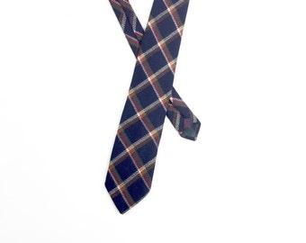 Vintage Rooster Tie / 1960s Plaid Tie / 1970s Plaid Tie / Wool Plaid Tie / Scottish Wool Tie