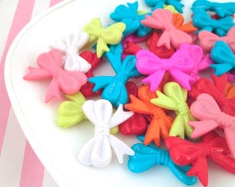 10 Multicolor Assorted Bow Beads #287