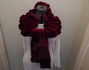 Red Velvet Ruched Victorian Style Scarf, Wrap, Valentine