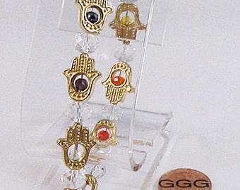 Bracelet - Gold Hamsa Hands (B274)