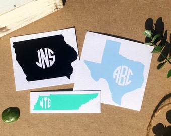 Free Shipping* Any State Monogram State Decal