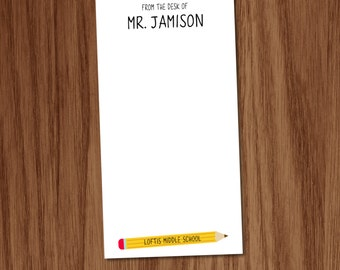 Personalized Teacher Notepad Gifts - Back to School Pencil Note Pad - Male Teacher Appreciation Gifts