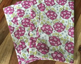 pink, green,spa blue modern floral napkin-Set of 2 or 4