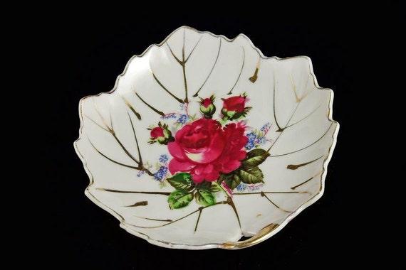 Leaf Shaped Trinket Dish, Nut Bowl, Candy Dish, Rose Pattern