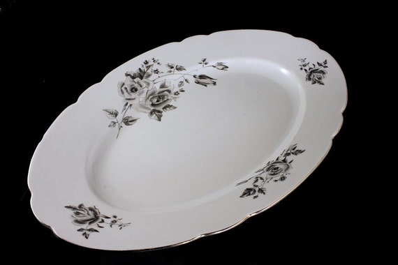 Oval Platter, Cmielow Poland, Black and Gray Roses, Platinum Trim