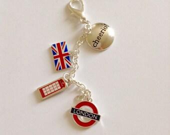 London Keychain, British Keychain, Silver Keychain, England Keychain, London Accessories