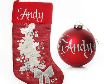 Personalised Red Poinsettia Stocking and Bauble Pack