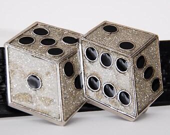 Leather Belt - Good Luck Dice - Belt n Dress Buckle 38mm