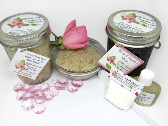 Sugaring Paste & Natural Pink Rose Petal Sugar Scrub Bundle Save 10% by JBHomemadeShop