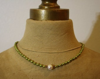 Hand Knotted Green Pearl & Amethyst Necklace