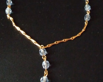 vintage yellow gold Blue crystal lariat necklace