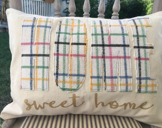 Canvas Pillow Cover with Vintage Fabric | Home Sweet Home