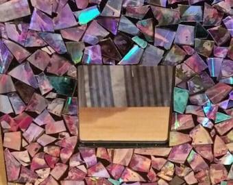 Irridescent mosaic mirror