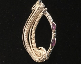 Wire Wrapped Sterling Pendant with Faceted Amethysts