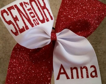 Cheer Bow Senior 2017. Cheer bow. Bow. Senior. 2017. Senior bow. Glitter. Personalized name.  **Choice of colors**