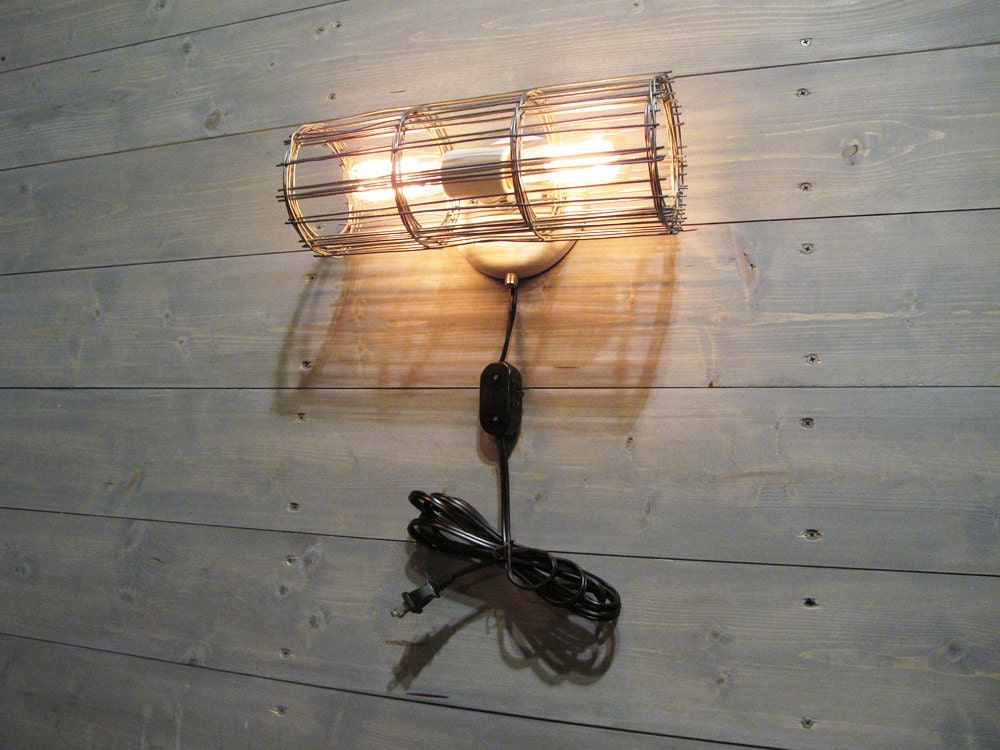 Rustic Wall Sconce w/ Plug & Cord and Grey Galvanized Steel Cage - Wall Mount Lamp with Switch ...