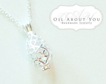 Teardrop Essential Oil Diffuser Necklace Diffuser Necklace Aromatherapy Necklace Sterling Silver Chain Locket Pendant Filigree Gift Scent