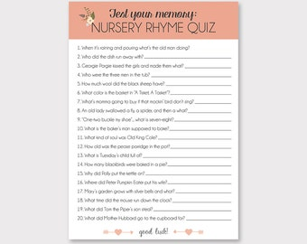 Nursery Rhyme Quiz // Instant Download // Floral And Rose // Baby Shower