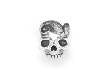 """Skull Ring, Silver Skull Ring, 925 Sterling Silver """"The Madame"""" Skull Ring, Unique Skull Jewellery"""