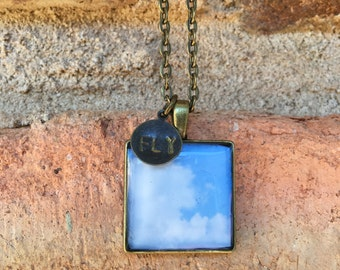Fly in the Clouds bronze necklace