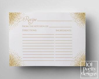Art deco recipe cards printable recipe templates, gold  recipe design instant download gatsby recipe bridal shower printable pink white