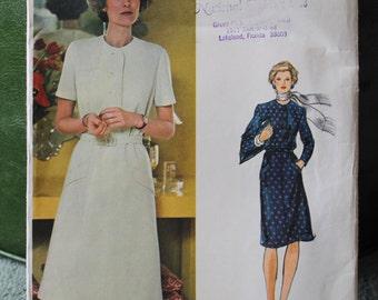 Vogue 1980s A-Line Button Front Pocket Dress w/ Matching Belt sz 14