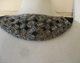 Neck Yoke Collar Applique Evening Black Silver
