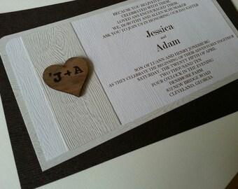Wood Grain Wedding Invitation Set - Woodland - Nature - Farm Country wedding invitation set rustic natural wedding invitation set