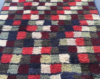 "2'3"" by 4'7""Vintage Anatolian shaggy tulu rug with little squares"