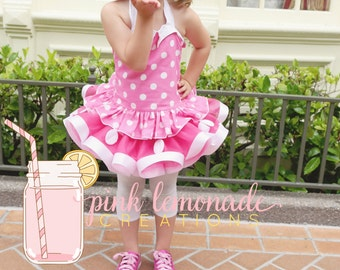 Retro Pink Minnie Mouse Inspired Tutu outfit, Sewn Tutu, Ribbon Tutu, Birthday Outfit, Pageant Outfit