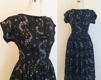1950s Silk Printed Dress 25 Inch Waist | 1950's Black Floral Dress Size Small