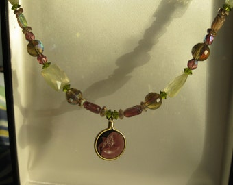 Intarsia Pendant Necklace with Lemon Quartz and Crystal Beads