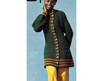 Women's Retro, Crochet Coat Pattern