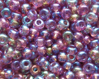 24 grams Light Amethyst AB, Purple Czech 6/0 glass seed beads, size 6 Preciosa Rocaille 4mm spacer beads, large, big hole C8424