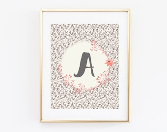 Coral and Grey Nursery Wall Art Printable, Woodland Whimsical Baby Name Letter Baby Shower Gift, Floral Personalized Bedroom Decor