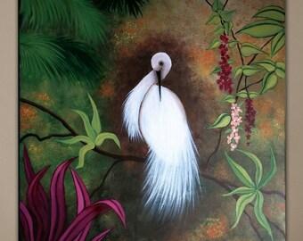 Original Acrylic Bird Painting on Canvas, White Crane I