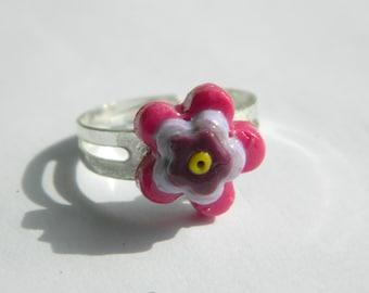 Handmade Polymer Clay Flower Layered Ring