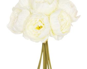 26cm 7 Stem Cream Peony Bouquet
