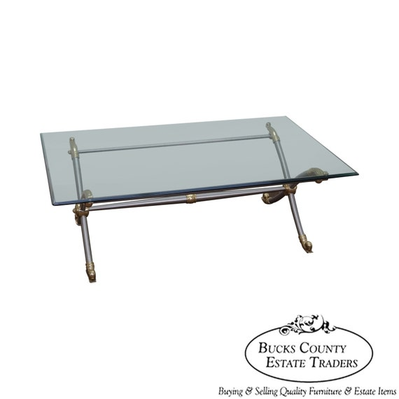 Glass Coffee Table Brass Base: LaBarge X Base Regency Chrome & Brass Glass Top Coffee Table