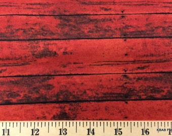 RED BARN Wood Fabric By Yard, Fat Quarter, Half Yard Wood Grain Rustic Fence Wood Grain Landscape Fabric 100% Cotton Quilting Fabric t4/16