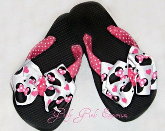 Pink Minnie Bow Flip Flops READY TO SHIP