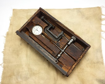 Vintage Clamp-Style Base Dial Indicator in Wood Box