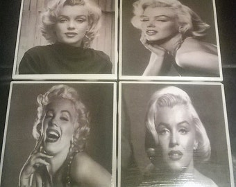 """Marilyn Monroe Ceramic tile coasters with cork back 4 1/4"""" x 4 1/4 """""""