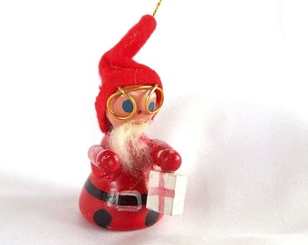 Vintage Christmas Ornament, Wood Santa with Red Cross Kit or Gift