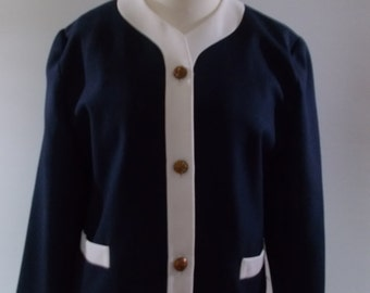 Vintage blazer jacket 80s navy jacket with white trim by Classic Woman size large extra large