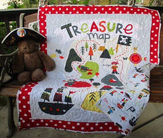 Riley Blake Panel Treasure Map Pirates Reversible
