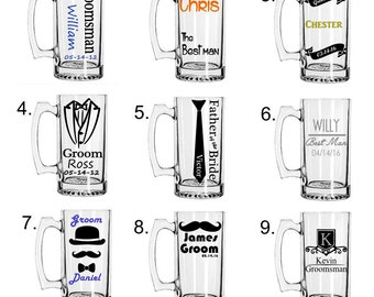 Set of 8 Personalized Groomsmen Beer Mugs, Custom Groomsmen Beer Mugs, Unique Groomsmen Mugs, Beer Mug Glasses
