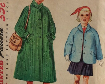 Simplicity 4820 vintage 1950's girls coat or jacket sewing pattern size 7  Uncut  Factory folds