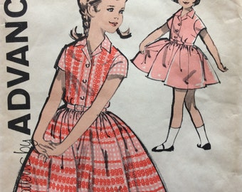 Advance 2820 girls dress size 7 vintage 1960's sewing pattern